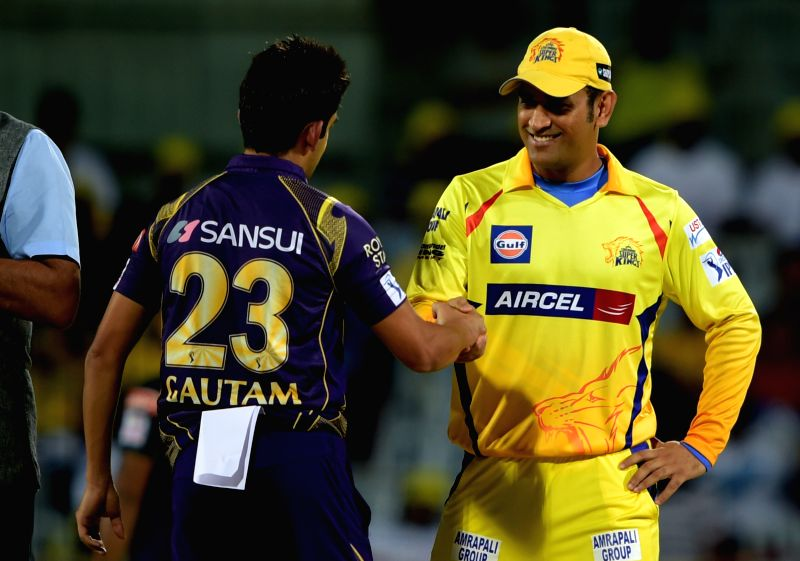 Chennai Super Kings and Kolkata Knight Riders captains MS Dhoni and Gautam Gambhir respectively during an IPL - 2015 match between Chennai Super Kings and Kolkata Knight Riders at MA ... - MS Dhoni