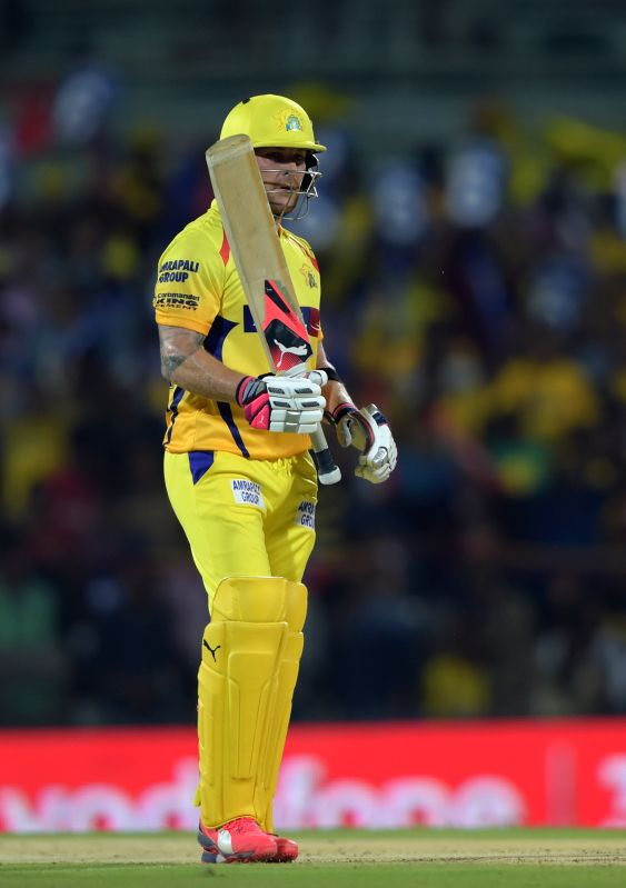Chennai Super Kings batsman Brendon McCullum celebrates his half century ​during an IPL-2015 match between Chennai Super Kings and ​Kings XI Punjab at MA Chidambaram Stadium, in Chennai, ... - Brendon M