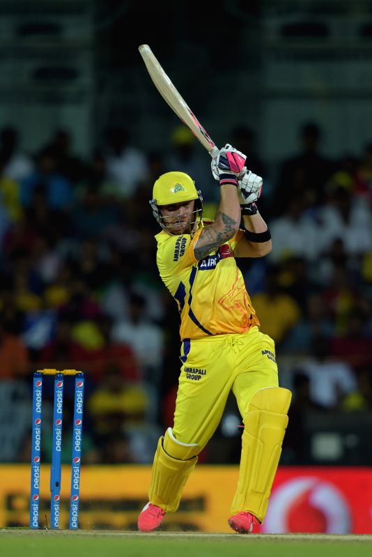 Chennai Super Kings batsman Brendon McCullum in action during an IPL - 2015 match between Chennai Super Kings and Kolkata Knight Riders at MA Chidambaram Stadium in Chennai, on April 28, ... - Brendon M