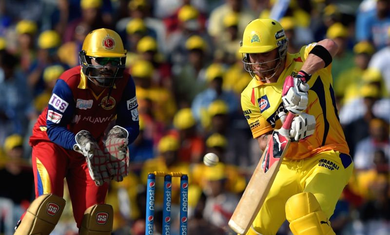 Chennai Super Kings batsman Brendon McCullum in action during an IPL 2015 match between Chennai Super Kings and Royal Challengers Bangalore at M. A. Chidambaram Stadium in Chennai on May 4, ... - Brendon M