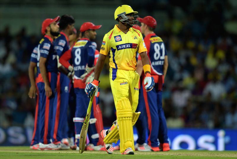 : Chennai Super Kings batsman Dwayne Bravo walks back to the pavilion after getting dismissed during an IPL-2015 match between Chennai Super Kings and Delhi Daredevils at MA Chidambaram ... - Dwayne Bravo