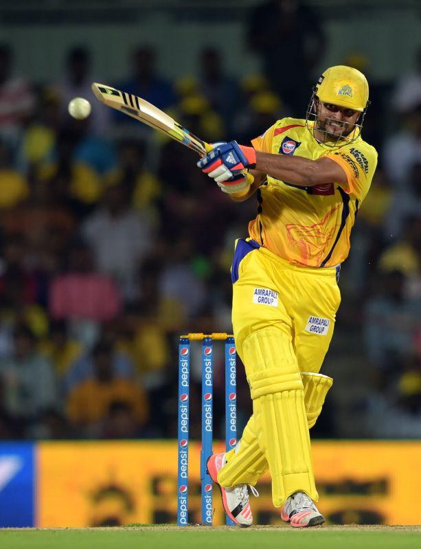 Chennai Super Kings batsman Suresh Raina in action during an IPL-2015 match between Chennai Super Kings and Kings XI Punjab at MA Chidambaram Stadium, in Chennai, on April 25, 2015. - Suresh Raina