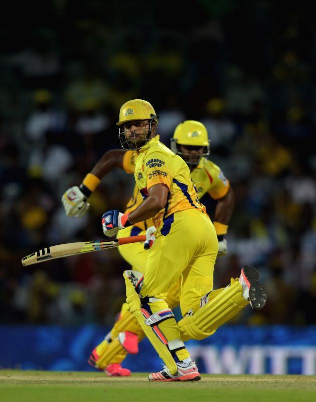 Chennai Super Kings batsman Suresh Raina in action during an IPL - 2015 match between Chennai Super Kings and Kolkata Knight Riders at MA Chidambaram Stadium in Chennai, on April 28, 2015. - Suresh Raina