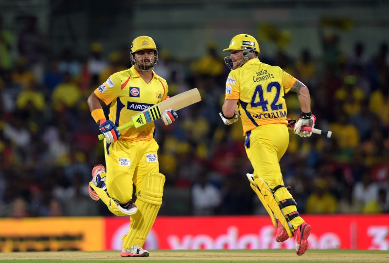 Chennai Super Kings batsmen Brendon McCullum and Suresh Raina in action ​during an IPL-2015 match between Chennai Super Kings and ​Kings XI Punjab at MA Chidambaram Stadium, in Chennai, ...