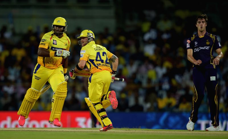 Chennai Super Kings batsmen Dwayne Smith and Brendon McCullum in action during an IPL - 2015 match between Chennai Super Kings and Kolkata Knight Riders at MA Chidambaram Stadium in Chennai, ...