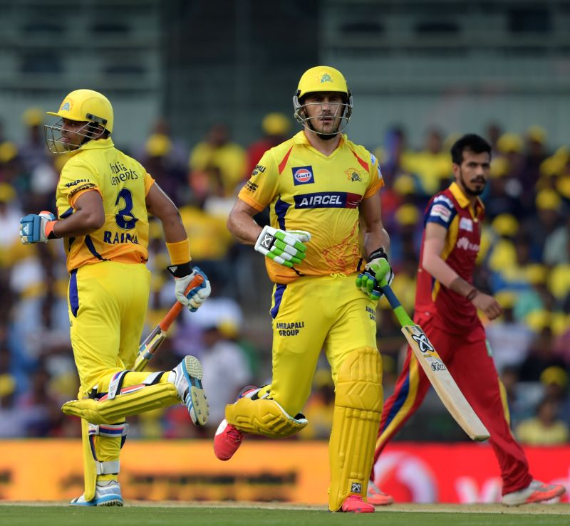 Chennai Super Kings batsmen Suresh Raina and Francois du Plessis in action during an IPL 2015 match between Chennai Super Kings and Royal Challengers Bangalore at M. A. Chidambaram Stadium ...