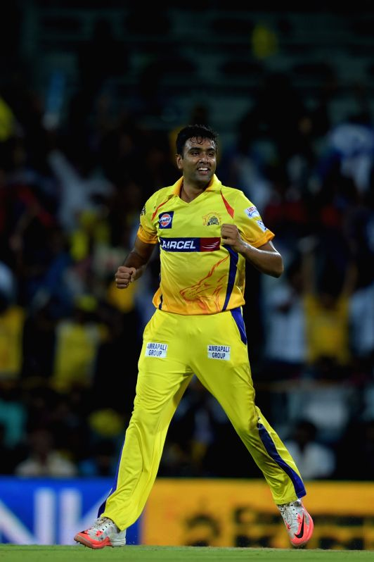 Chennai Super Kings bowler Ravichandran Ashwin celebrates fall of a wicket during an IPL - 2015 match between Chennai Super Kings and Kolkata Knight Riders at MA Chidambaram Stadium in ... - Ravichandran Ashwin