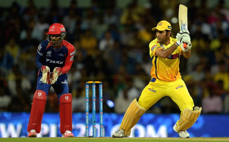 : Chennai Super Kings captain MS Dhoni in action during an IPL-2015 match between Chennai Super Kings and Delhi Daredevils at MA Chidambaram Stadium, in Chennai, on April 9, 2015. - MS Dhoni