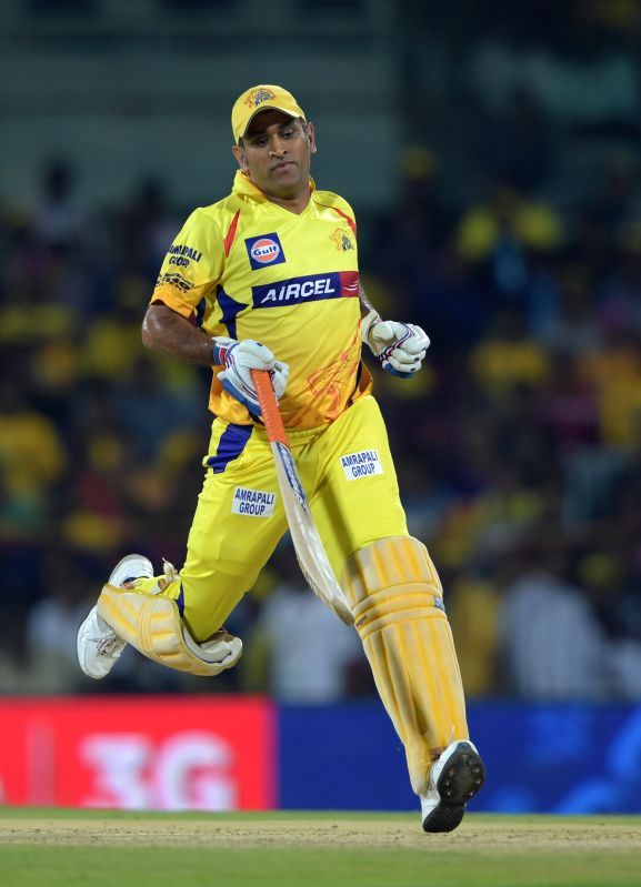Chennai Super Kings captain MS Dhoni in action during an IPL-2015 match between Chennai Super Kings and Kings XI Punjab at MA Chidambaram Stadium, in Chennai, on April 25, 2015. - MS Dhoni