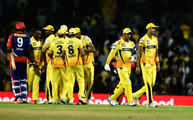 Chennai Super Kings celebrate after winning the IPL 2015 match against Delhi Daredevils at MA Chidambaram Stadium, in Chennai, on April 9, 2015.