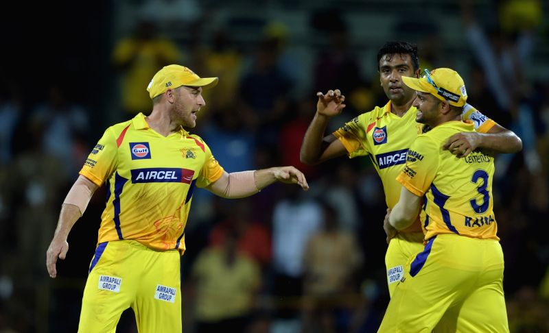 Chennai Super Kings celebrate fall of a wicket during an IPL - 2015 match between Chennai Super Kings and Kolkata Knight Riders at MA Chidambaram Stadium in Chennai, on April 28, 2015.