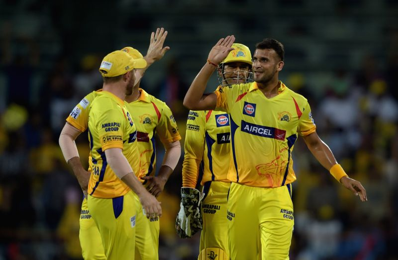 Chennai Super Kings celebrate fall of a wicket during an IPL 2015 match between Chennai Super Kings and Royal Challengers Bangalore at M. A. Chidambaram Stadium in Chennai on May 4, 2015.