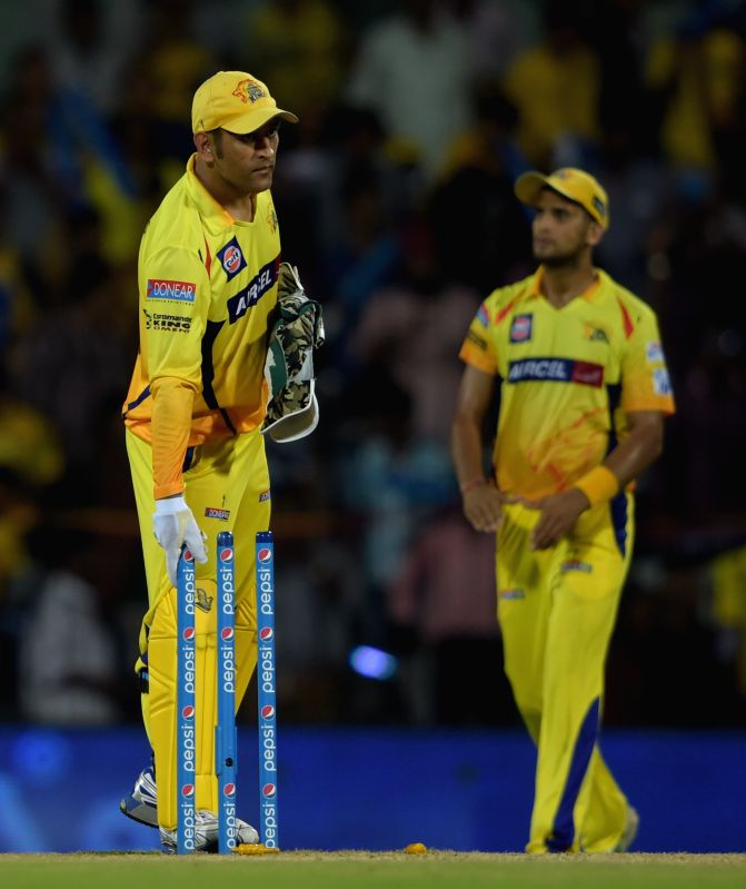 Chennai Super Kings (CSK) captain MS Dhoni during an IPL-2015 match between Chennai Super Kings (CSK) and Sunrisers Hyderabad (SRH) at MA Chidambaram Stadium, in Chennai, on April 11, 2015. - MS Dhoni
