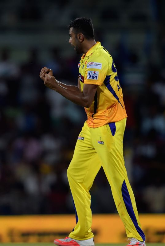 Chennai Super Kings (CSK) player Ravichandran Ashwin celebrate fall of a wicket during an IPL-2015 match between Chennai Super Kings (CSK) and Sunrisers Hyderabad (SRH) at MA Chidambaram ...