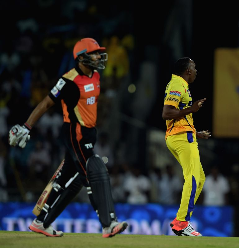 Chennai Super Kings (CSK) player Dwayne Bravo celebrate fall of a wicket during an IPL-2015 match between Chennai Super Kings (CSK) and Sunrisers Hyderabad (SRH) at MA Chidambaram Stadium, ...