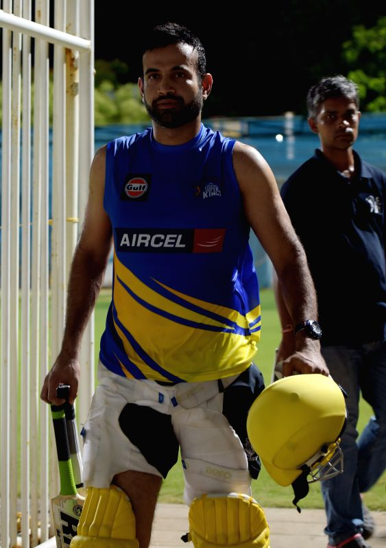 Chennai Super Kings (CSK) player Irfan Pathan during a practice session for the upcoming IPL matches in Chennai on April 4, 2015.