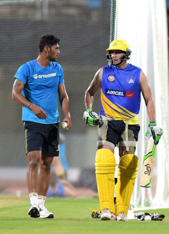 Chennai Super Kings (CSK) player Michael Hussey during a practice session for the upcoming IPL matches in Chennai on April 4, 2015.