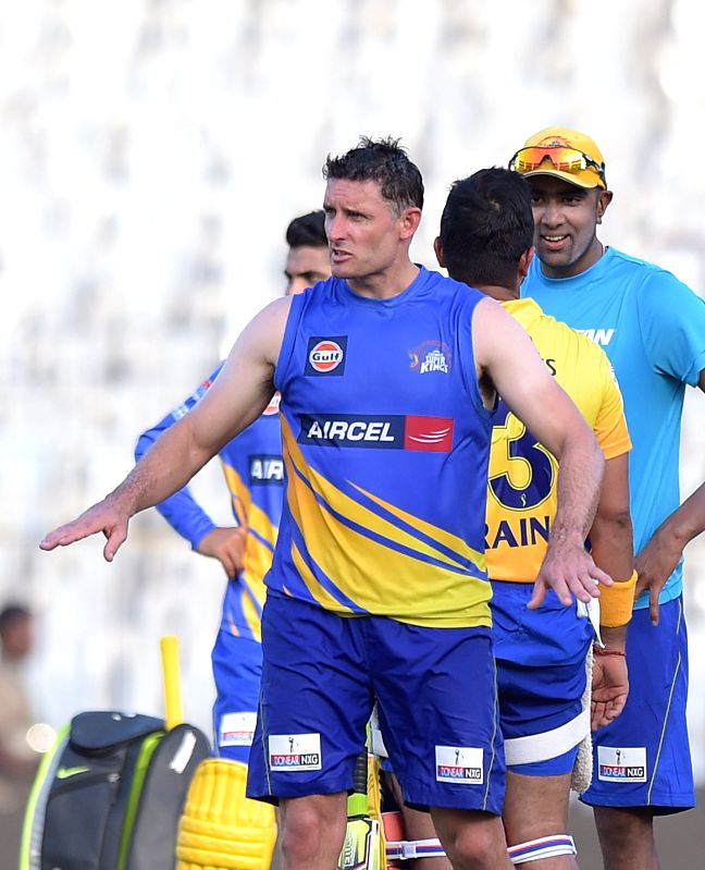Chennai Super Kings (CSK) player Michael Hussey during a practice session for the upcoming IPL matches in Chennai on April 8, 2015.