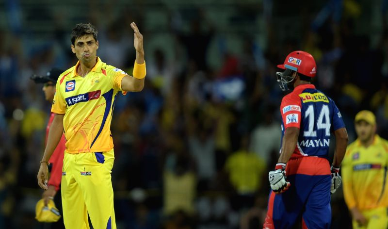 Chennai Super Kings player Ashish Nehra celebrates fall of a wicket during an IPL-2015 match between Chennai Super Kings and Delhi Daredevils at MA Chidambaram Stadium, in Chennai, on April ... - Ashish Nehra
