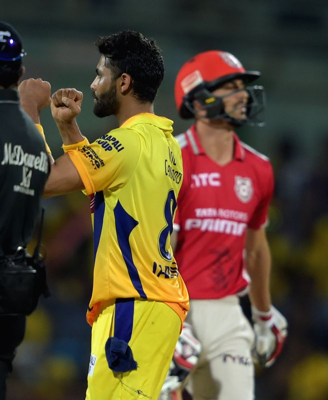 Chennai Super Kings player Ravindra Jadeja celebrates fall of a wicket during an IPL-2015 match between Chennai Super Kings and Kings XI Punjab at MA Chidambaram Stadium, in Chennai, on ... - Ravindra Jadeja