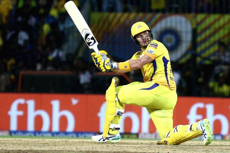Chennai Super Kings' Shane Watson in action during the 41st match of IPL 2019 between Chennai Super Kings and Sunrisers Hyderabad at MA Chidambaram Stadium in Chennai