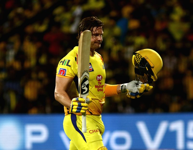 Chennai Super Kings' Shane Watson walks back to the pavilon after getting dismissed during the 41st match of IPL 2019 between Chennai Super Kings and Sunrisers Hyderabad at MA Chidambaram Stadium in Chennai