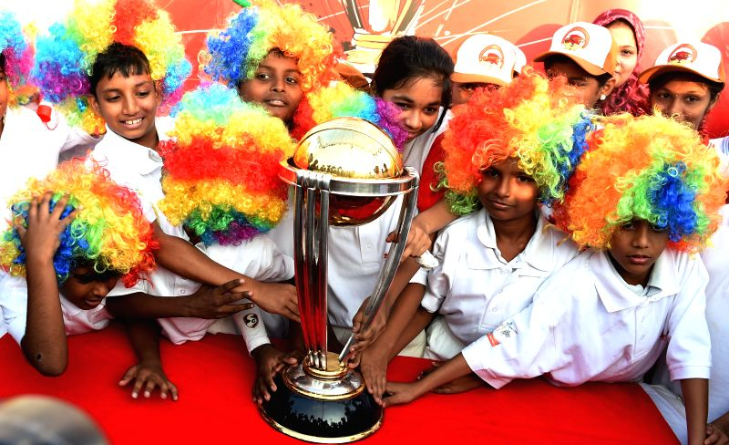Children celebrating during the ICC World Cup 2015 Trophy's promotional event in Chennai on Jan. 31, 2015.