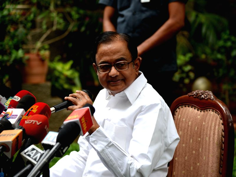Congress leader P. Chidambaram addresses a press conference in Chennai, on June 17, 2015.