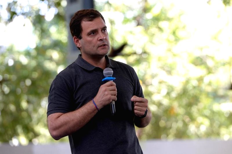 Chennai: Congress President Rahul Gandhi interacts with students in Chennai, on March 13, 2019. (Photo: IANS/AICC)