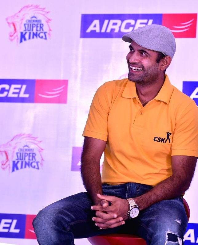 Cricketer Irfan Pathan addresses during a programme in Chennai, on March 18, 2015.