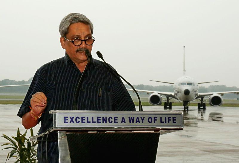 :Chennai: Defence Minister Manohar Parrikar addresses at the Induction Ceremony of P8i Aircraft at INS Rajali near Chennai on Nov. 13, 2015. (Photo: IANS). - Manohar Parrikar