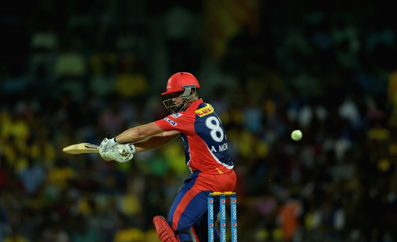 Delhi Daredevils batsman Albie Morkel in action during an IPL-2015 match between Chennai Super Kings and Delhi Daredevils at MA Chidambaram Stadium, in Chennai, on April 9, 2015. - Albie Morkel