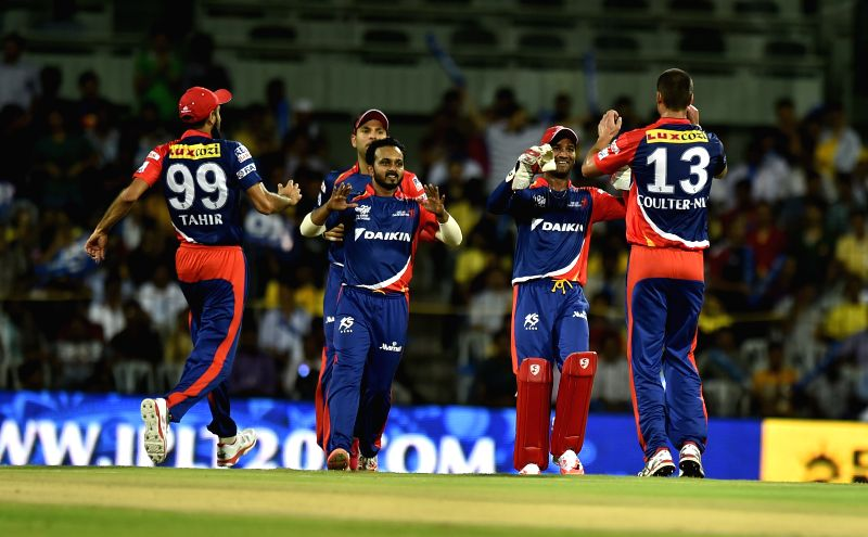 : Delhi Daredevils celebrate fall of a wicket during an IPL-2015 match between Chennai Super Kings and Delhi Daredevils at MA Chidambaram Stadium, in Chennai, on April 9, 2015.