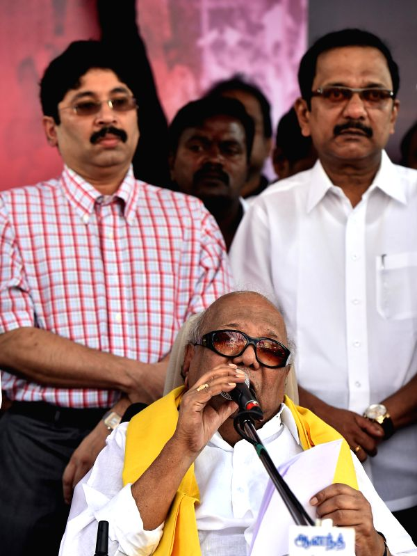 DMK chief M Karunanidhi and others participate in a demonstration against the land acquisition bill in Chennai, on March 20, 2015.