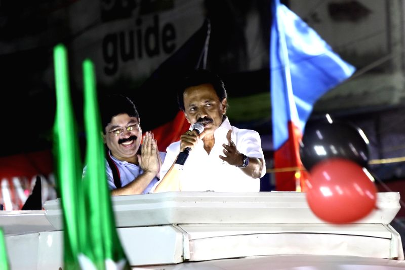 Chennai: DMK President M.K. Stalin during election campaign in Chennai on April 15, 2019. (Photo: IANS)