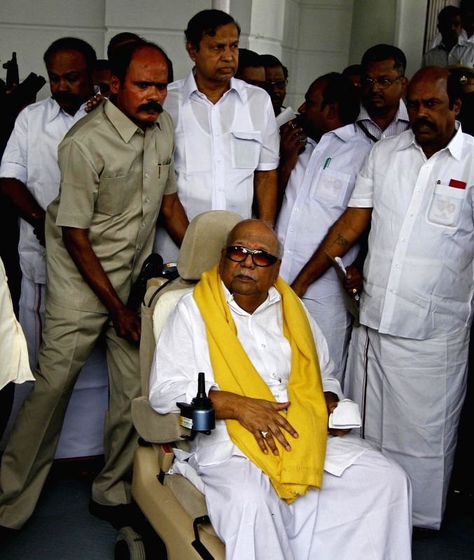 DMK president M. Karunanidhi at Tamil Nadu Assembly in Chennai, on Dec 4, 2014. Karunanidh said he was not attending the state assembly session as there was no proper seating arrangement for