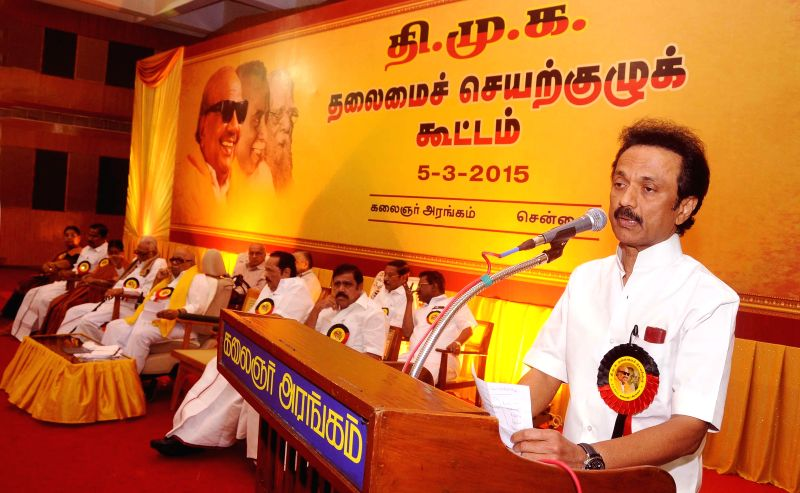DMK treasurer M K Stalin addresses during party's executive committee meeting at Kalainger Arangam in Chennai, on March 5, 2015.