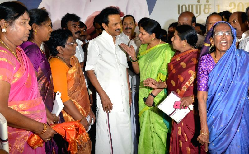 DMK Treasurer M K Stalin during his birthday celebrations in Chennai, on March 1, 2015.