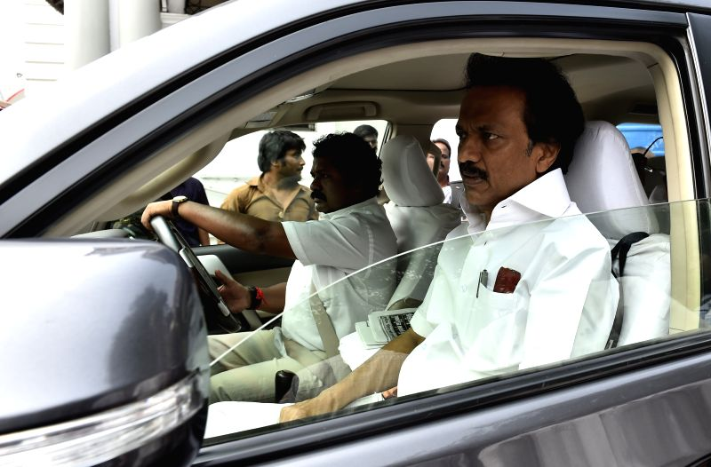 DMK treasurer MK Stalin leaves after walking out of the Tamil Nadu Legislative Assembly on the day one of the budget session of the house in Chennai, on March 25, 2015.