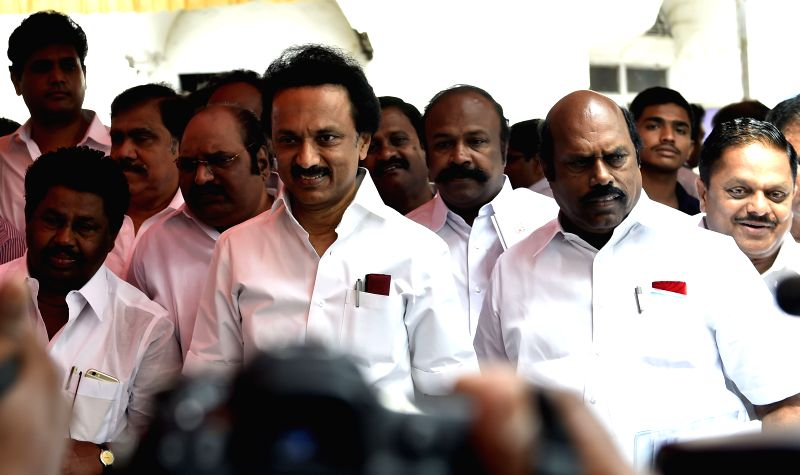 DMK treasurer MK Stalin walks out of the Tamil Nadu Legislative Assembly on the day one of the budget session of the house in Chennai, on March 25, 2015.