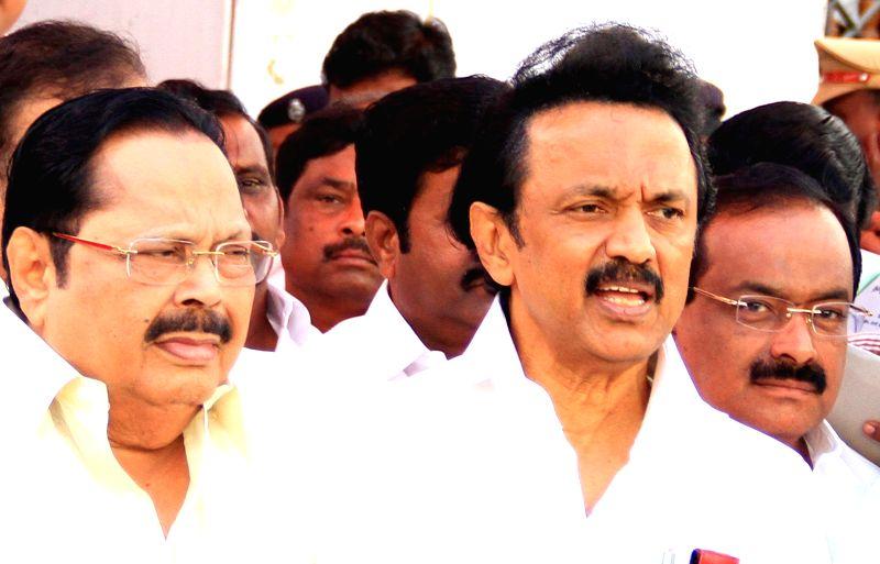 Dravida Munnetra Kazhagam (DMK) treasurer M.K. Stalin addresses a press conference after walking out of a Tamil Nadu Assembly session in Chennai on Feb 18, 2015.
