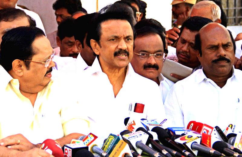 Dravida Munnetra Kazhagam (DMK) treasurer M.K. Stalin addresses a press conference after walking out of a Tamil Nadu Assembly session in Chennai on Feb 18, 2015.