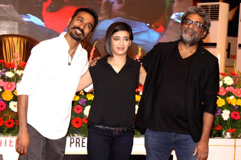 Film director R. Balki, actors Dhanush and Akshara Haasan during promotion of the film Shamitabh in Chennai. - Dhanush and Akshara Haasan