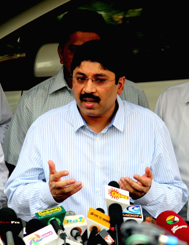 Former Union Minister Dhayanidhi Maran addresses a press conference in Chennai on Jan 22, 2015, a day after the top investigation agency arrested three persons, including Maran's former ...