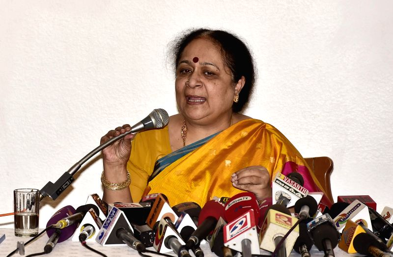 Former Union Minister Jayanthi Natarajan during a press conference announcing her resignation from Congress in Chennai on Jan. 30, 2015.