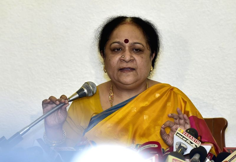 :Chennai: Former Union Minister Jayanthi Natarajan during a press conference announcing her resignation from Congress in Chennai on Jan. 30, 2015. (Photo: IANS).