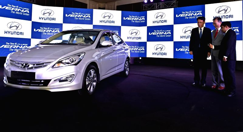 Hyundai Motor India (HMIL) MD and CEO B S Seo at the launch of the new 4S Fluidic Verna in Chennai on Feb 19, 2015.