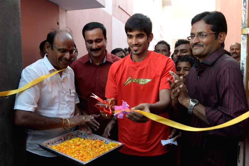 Indian badminton player Srikanth Kidambi at the inauguration of a Badminton Academy in Chennai, on April 22, 2015.
