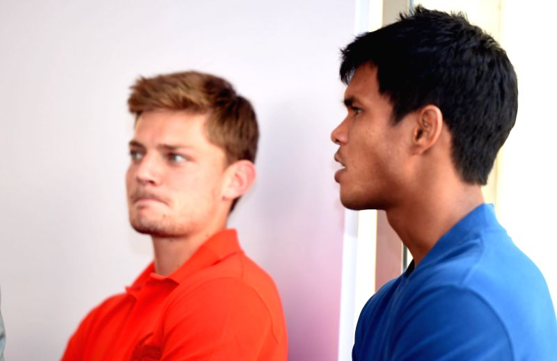 Indian Tennis player Somdev Devvarman, David Goffin of Belgium and others at the draw ceremony of ATP Chennai Open 2015 in Chennai on Jan. 3, 2014.