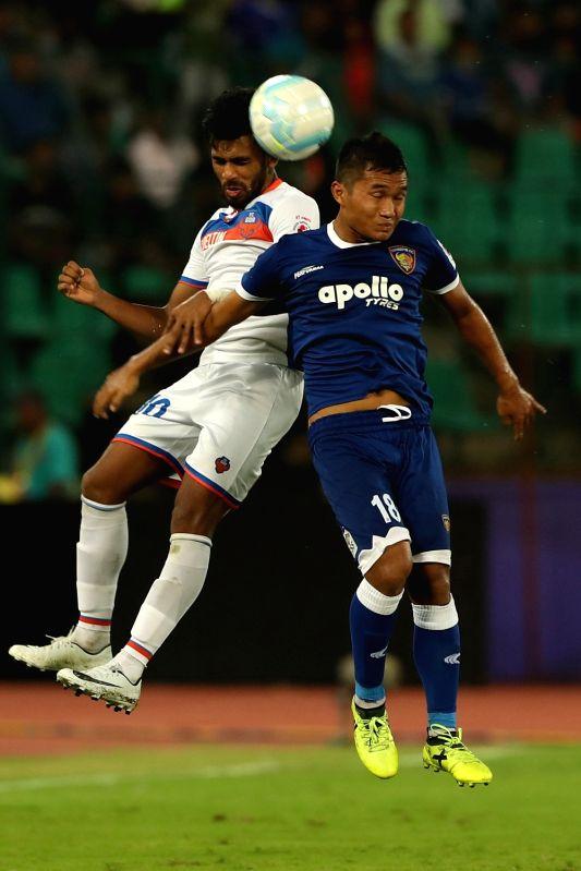 Chennai: Jerry Lalrinzuala of Chennaiyin FC (right) and Brandon Fernandes of FC Goa  in action during an ISL match between Chennaiyin FC and FC Goa at Jawaharlal Nehru Stadium in Chennai on Nov 19, 2017.